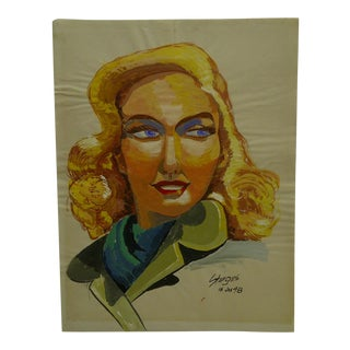 "1948 Mid-Century Modern Original Painting on Paper, ""Golden Hair"" by Tom Sturges Jr"