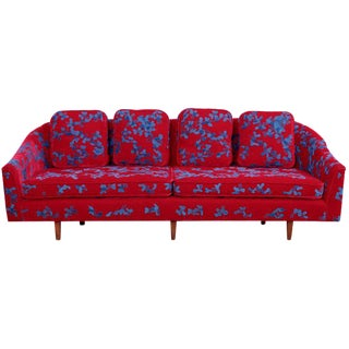 Harvey Probber Sofa with Jupe by Jackie hand embroidered fabric For Sale