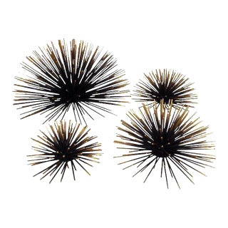 Gold & Black Metal Wall Sea Urchins - Set of 4 For Sale