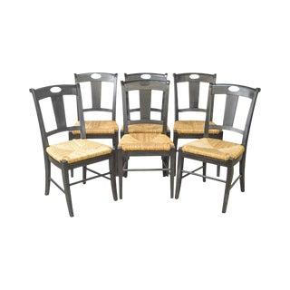 Pottery Barn French Country Set of 6 Black Painted Rush Seat Dining Chairs For Sale