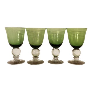 Mid-Century Green Crystal Goblets With Large Ball Stem-Set of 4