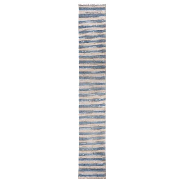 "Vintage Malatya Geometric Blue Gray Wool Kilim Runner-2'5'x15'5"" For Sale"