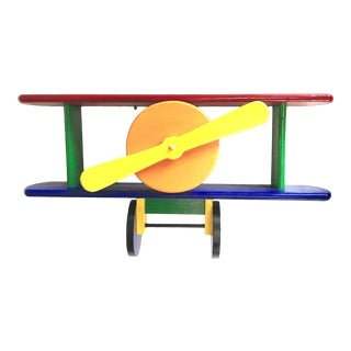 Child's Room Plane Landing Toy Shelf Bright Colors Red Green Blue Yellow Vintage Handmade Americana For Sale