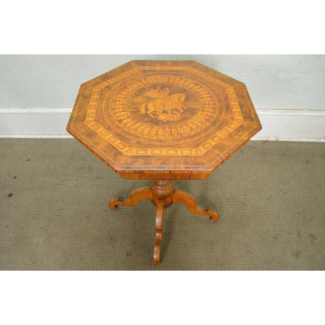 Antique Italian Walnut Marquetry Inlaid Octagon Top Pedestal Side Table - Image 7 of 10