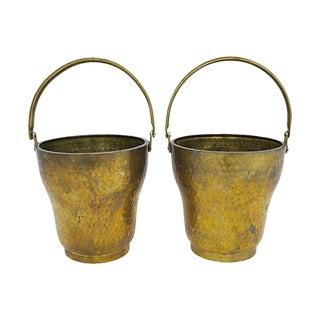 Hammered Brass Cachepots, a Pair