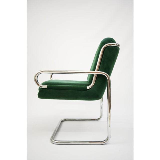 Dunbar Reversed Cantilever Tubular Chrome Chairs - A Pair - Image 3 of 7