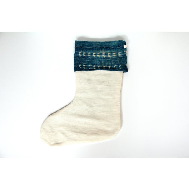 Vintage Indigo and Mudcloth Christmas Stocking - Image 3 of 4