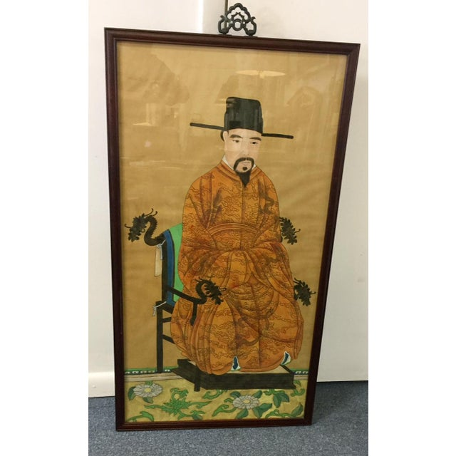 Original acrylic and ink on parchment, wood framed. Chinese ancestor portrait.