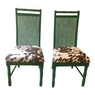 Mid-Century Green Cane Back Faux Pony Hair Ultra Suede Side Chairs - a Pair