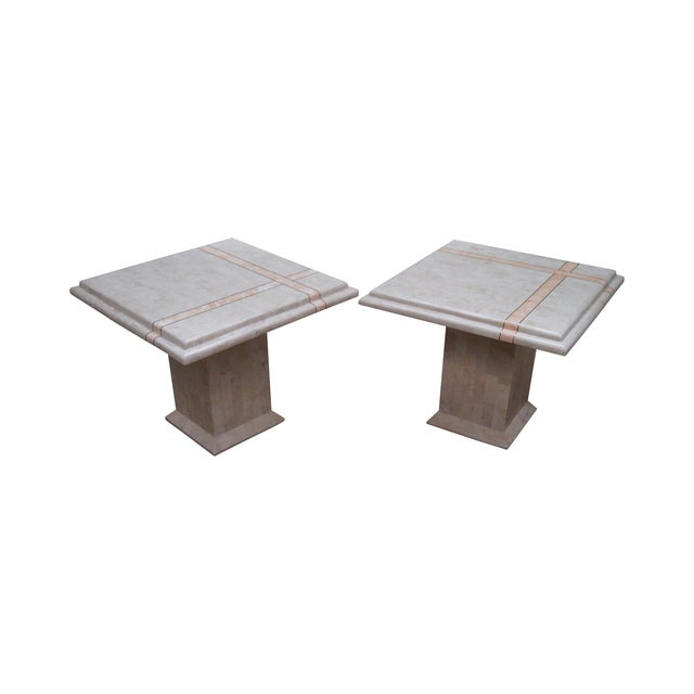 Maitland Smith Stone Marble Tables - A Pair For Sale