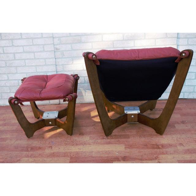 Mid-Century Modern Mid Century Modern Odd Knutsen Luna Lounge Chair and Ottoman For Sale - Image 3 of 13