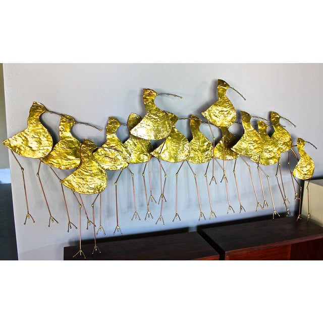 Curtis Jere Gold Metal Sandpiper Wall Art | Chairish