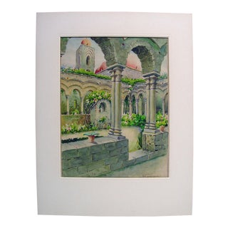 Courtyard Garden Watercolor Painting For Sale