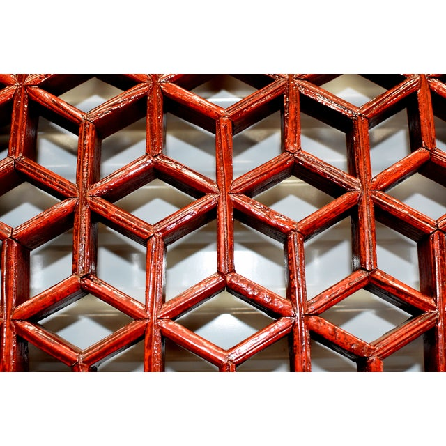 Antique Chinese Red and Black Screens - a Pair For Sale In Los Angeles - Image 6 of 13