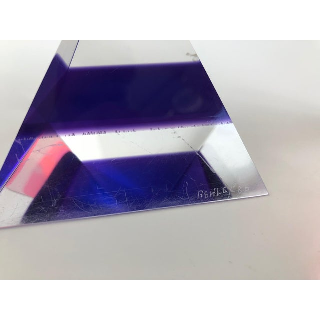 Pair of 1980's Multi -Colored Acrylic 3-D Trapezoids - Signed Ashley Style of Vasa For Sale - Image 12 of 13