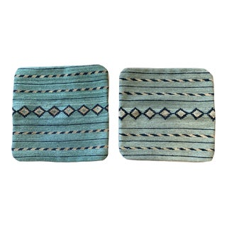 Sage Handmade Turkish Wool Rug Pillow Covers a Pair- 18x18 For Sale
