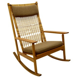 Hans Olsen Vintage Danish Teak Rocking Chair For Sale