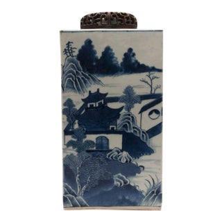19th Century Chinese Export Canton Large Blue and White Tea Caddy For Sale