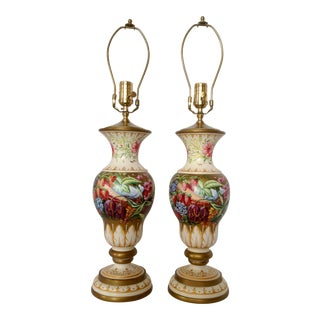 Pair of Hand Painted Urns Mounted as Table Lamps For Sale