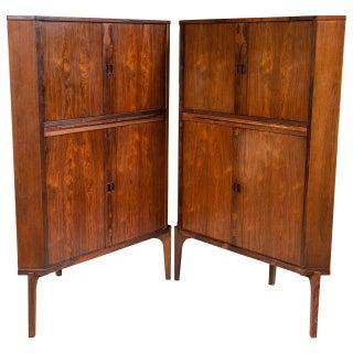Pair Danish Mid-Century Rosewood Corner Cabinets For Sale
