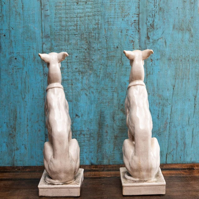 Neoclassical Vintage Greyhound Statues-a Pair For Sale - Image 3 of 7