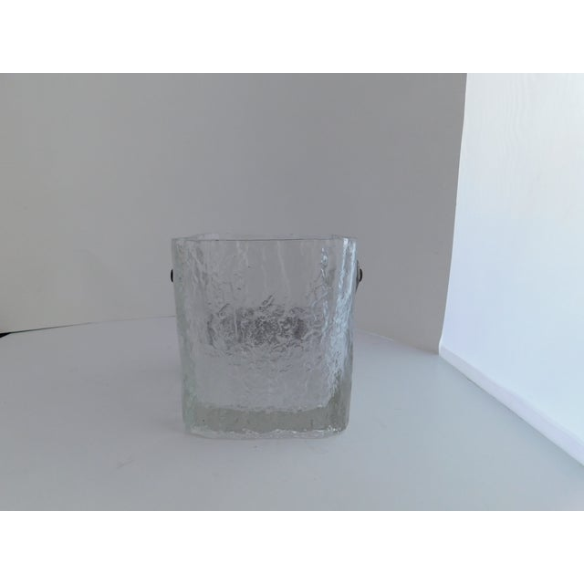 Brown Mid Century Textured Hoya Glass Ice Bucket and Tongs For Sale - Image 8 of 13
