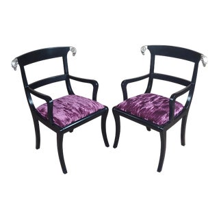 Hollywood Regency Ebonized Armchairs W/Silver Ram Heads-A Pair For Sale