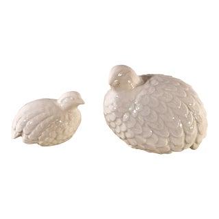 Vintage White Ceramic Doves - a Pair For Sale