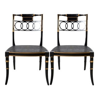 "Baker Furniture Charleston Collection ""Governor Alston"" Regency Style Black Lacquered Side Chairs - Set of 2 For Sale"
