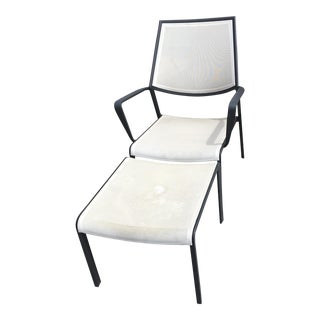 Crate and Barrel Outdoor Chair and Foot Stool - 2 Pieces