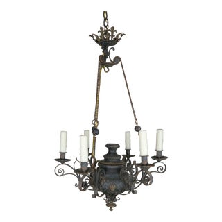 19th Century Six-Light French Chandelier With Cherubs and Fleur-De-Lis For Sale