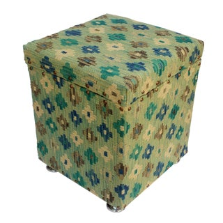 Cristal Green/Ivory Kilim Upholstered Handmade Storage Ottoman For Sale