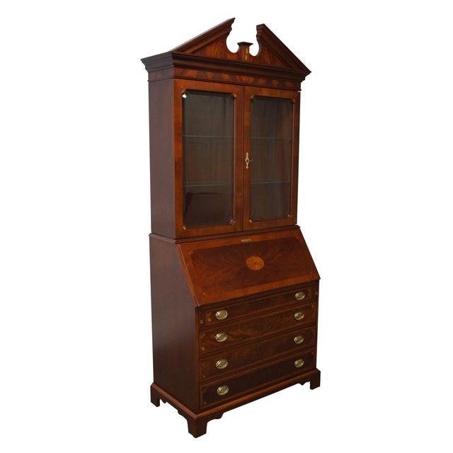 Hekman Mahogany & Yew Wood Inlaid Secretary Desk - Image 1 of 10