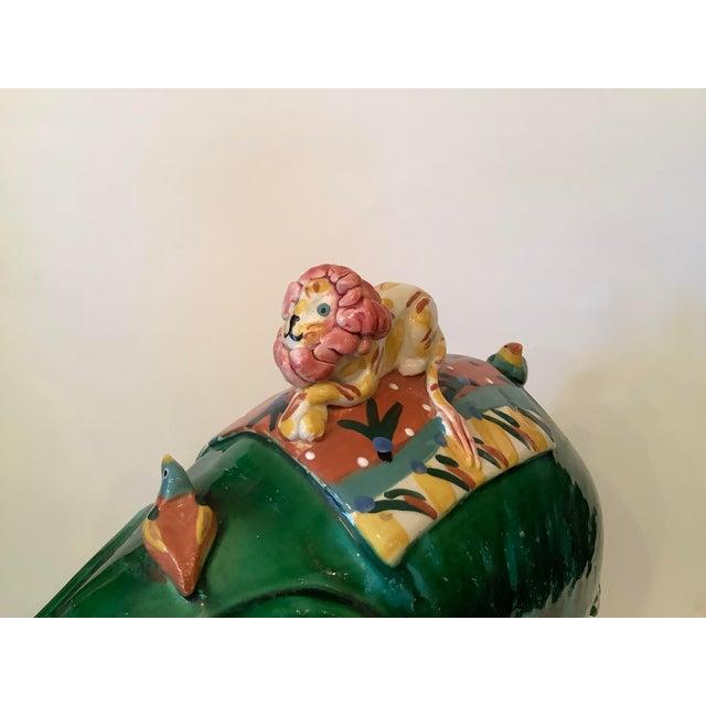 1980s Vintage Whimsical Glazed Ceramic Elephant Sculpture For Sale - Image 4 of 12