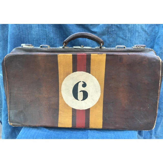 1940's English Leather Suitcase For Sale - Image 9 of 9
