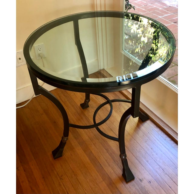 Modern Kreiss Luxury Home Iron & Glass Palomino Side End Occasional Table For Sale - Image 3 of 4