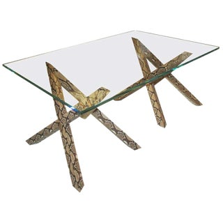 Python Skin Base Coffee Table With Glass Top For Sale