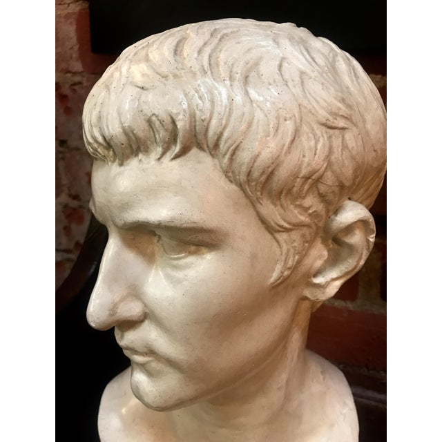 Neoclassical Revival Bust of Ottaviano Augusto, Roman Emperor, Plaster Portrait, Copy in Scale 1/1 For Sale - Image 3 of 7