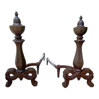 1910s Art Nouveau Andirons- A Pair For Sale