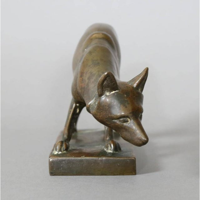Mid-Century Modern Bronze Figure of a Fox Cast by Gorham Foundry For Sale - Image 3 of 8