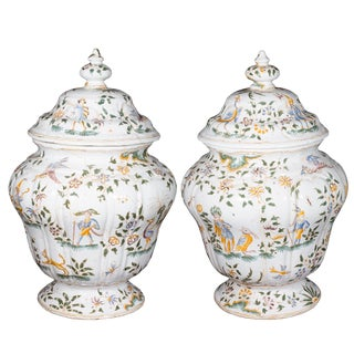 Mid 19th Century Vintage French Faience Covered Urns- a Pair For Sale