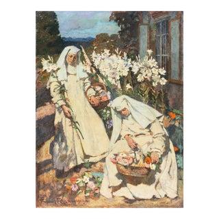 Nuns Gathering Lilies' by Friedrich Fehr, 1918; Munich School Figural, Karlsruhe, Catholic Convent For Sale