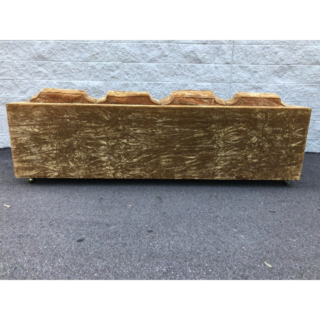 Mid Century Gold Crushed Velvet Rolling Sofa For Sale - Image 9 of 11