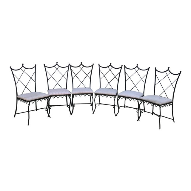 Vintage Outdoor Wrought Iron Chairs - Set of 6 - Image 1 of 5