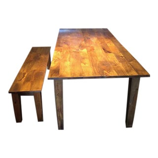 Crate and Barrel Dining Table and Matching Bench For Sale