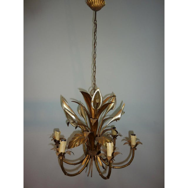 Italian Calla Lily 6-Light Gilded Chandelier - Image 2 of 7