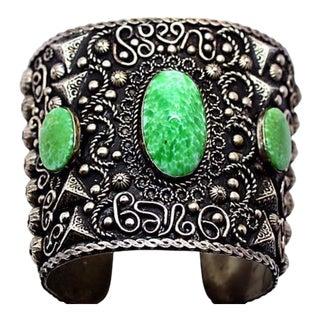 Mid Century Green Cabachon Ornate Alapaca Cuff For Sale