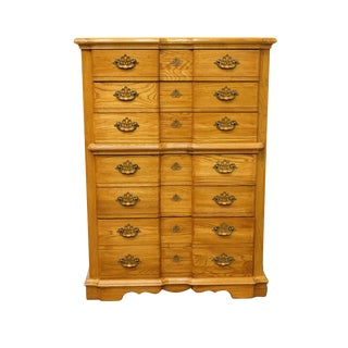 Rock City Furniture Solid Oak Country French Block Front Chest of Drawers For Sale
