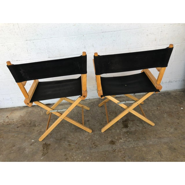 Canvas Vintage Wood Folding Director Chairs With Mercury Outboard Advertising - a Pair For Sale - Image 7 of 13