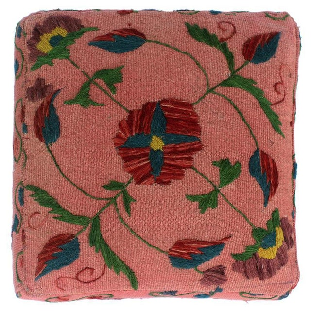 David Pink/Blue Kilim Hand Embroidered Upholstered Ottoman For Sale In New York - Image 6 of 8